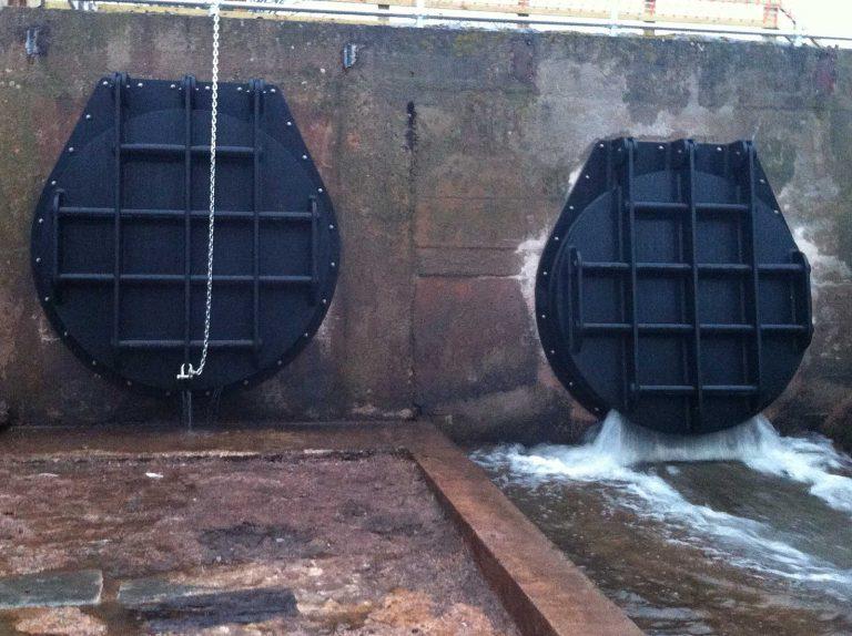 Front view of Bath Pool River Tone Flap Valves